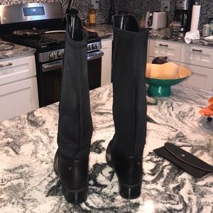 Dana Buchman Shoes - Knee high Black leather boots with stretchy back